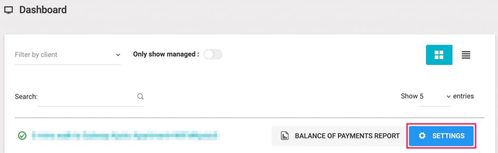 Click property's settings from dashboard.