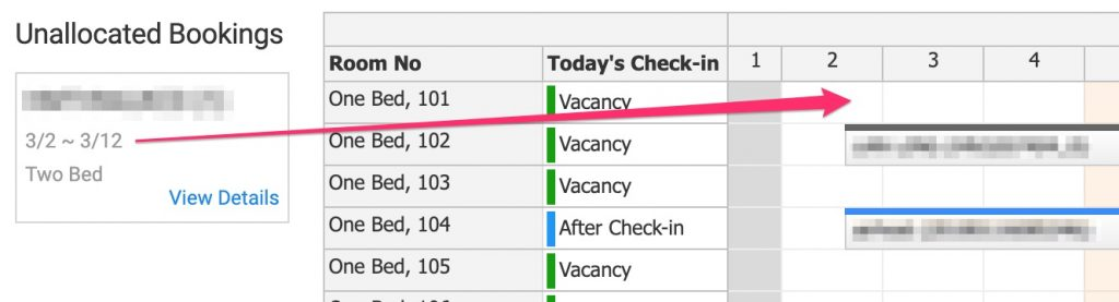 Drag unallocated booking to a vacant room.