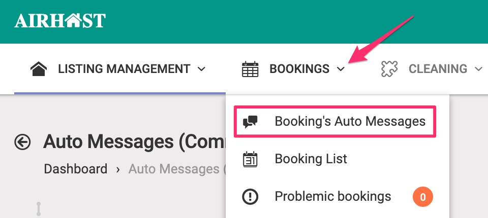 Select Booking's Auto Messages.